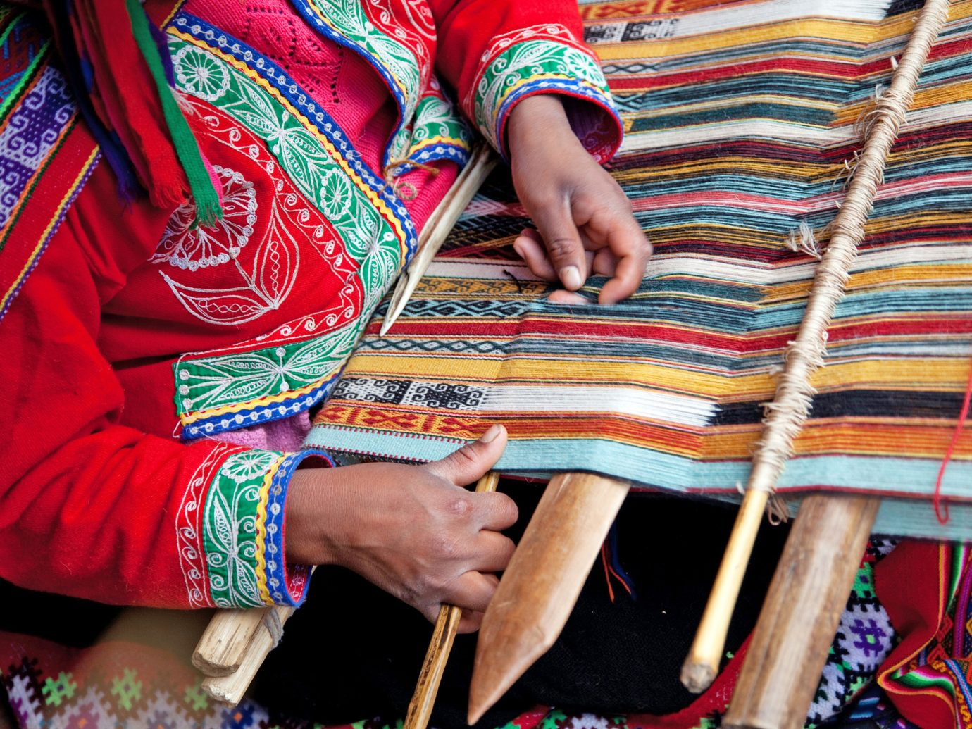 Trip Ideas person color people red colorful art striped pattern textile tradition arm colored