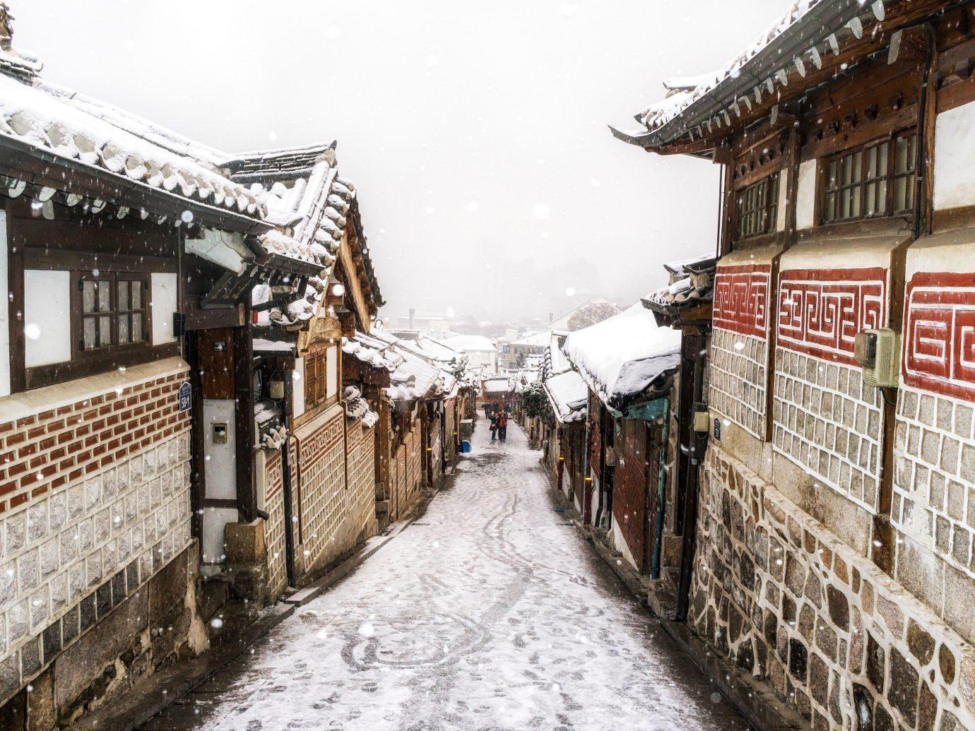 Seoul Trip Ideas snow Winter Town freezing street City sky road