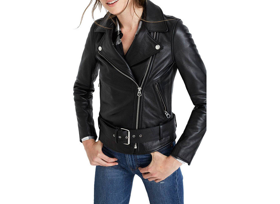 Packing Tips Style + Design Travel Shop person woman jacket clothing black leather jacket leather posing wearing shoulder sleeve zipper case overcoat lady material product beautiful dressed trouser