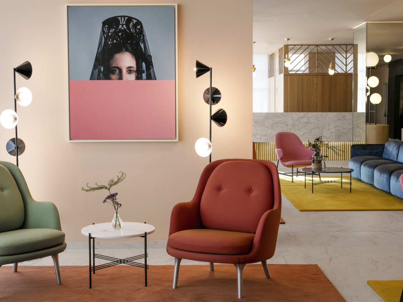 Hotels Madrid Spain wall indoor floor room furniture interior design Living living room chair table couch home waiting room interior designer flooring lamp area