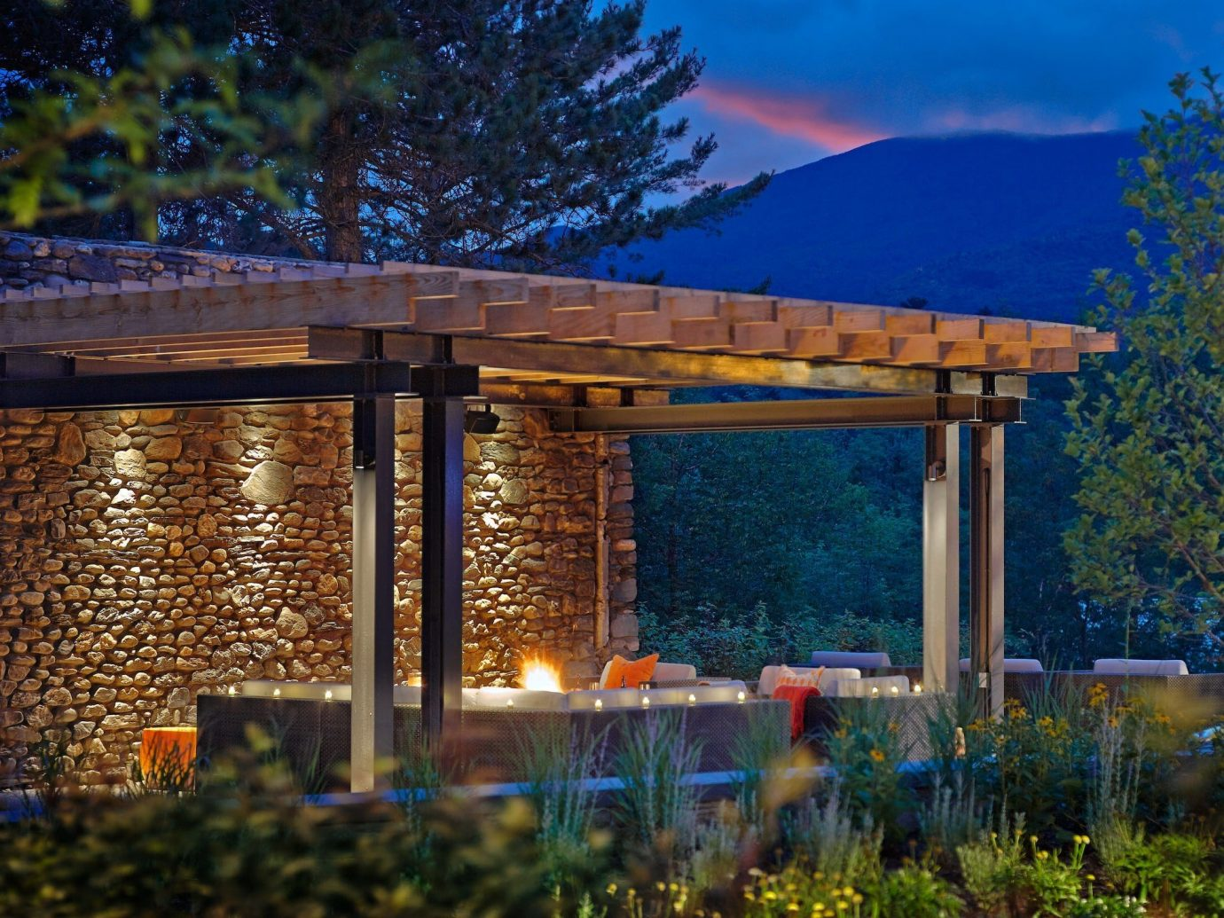 Mountains + Skiing Trip Ideas tree outdoor building house landscape lighting estate home backyard outdoor structure lush