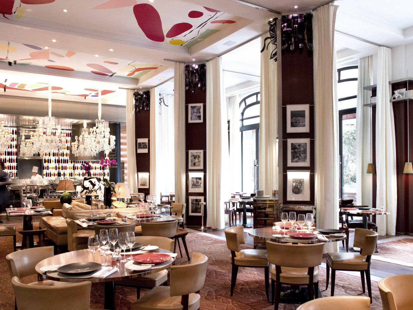 Dining Drink Eat France Hotels Paris table indoor ceiling chair room restaurant meal interior design café function hall Bar cafeteria area