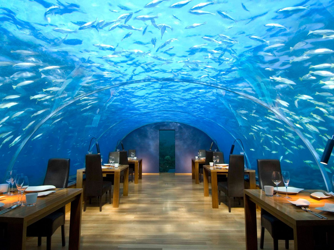 Underwater restaurant at Conrad Maldives Rangali Island