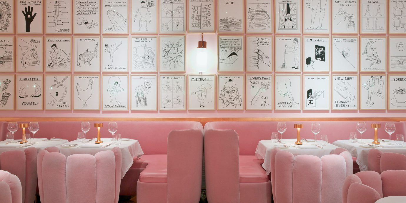 Sketch London pink walls and velvet banquette seating