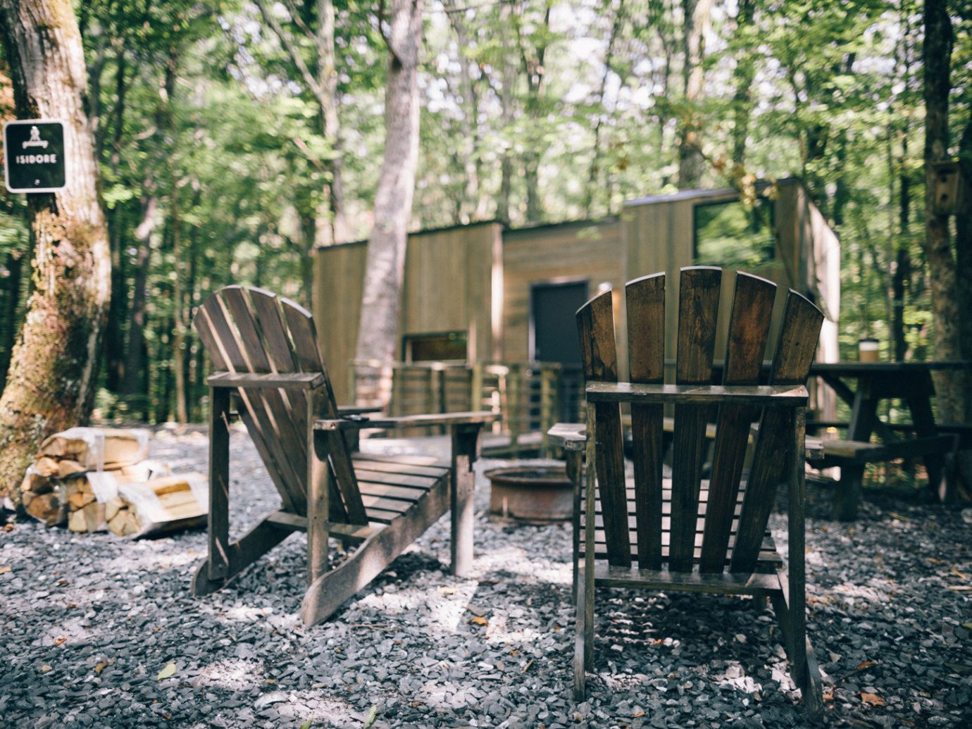 Boutique Hotels Fall Travel Hotels Outdoors + Adventure tree ground outdoor chair furniture woodland plant backyard outdoor structure wood table yard house Forest bench seat area dining table