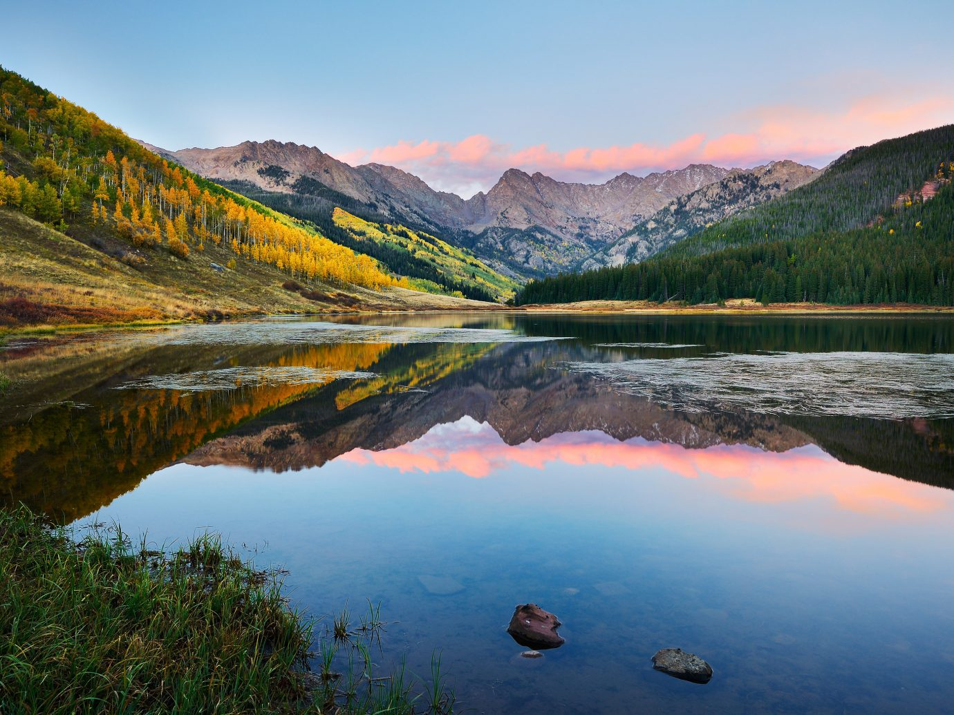 alpine skiing Mountains + Skiing Trip Ideas sky water mountain outdoor Nature mountainous landforms Lake reflection River wilderness valley canyon body of water loch tarn mountain range reservoir morning landscape autumn surrounded