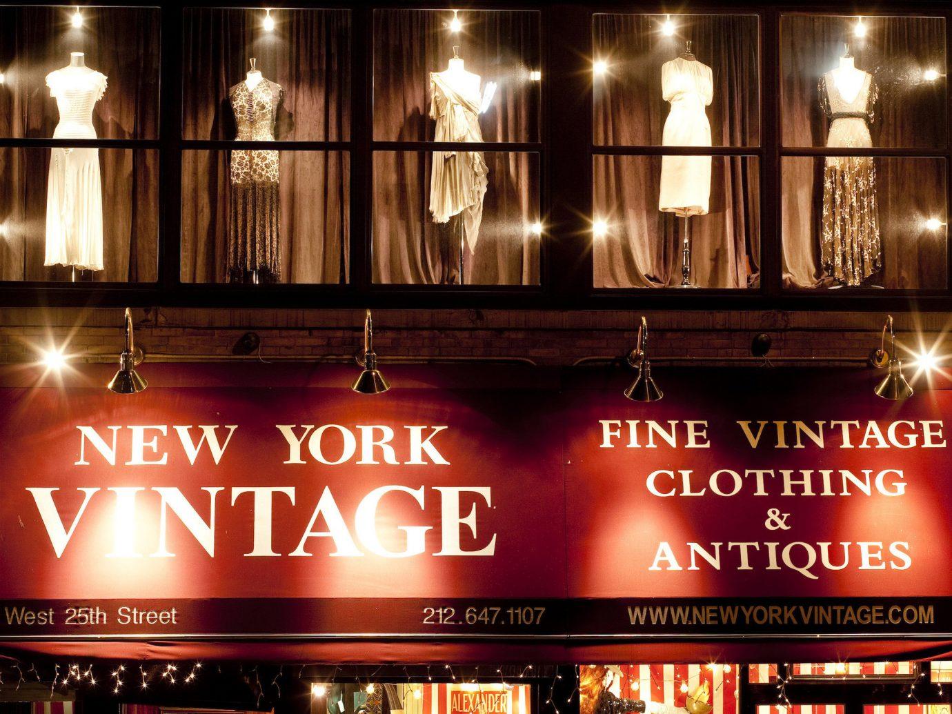NYC Shops Style + Design night lighting display window restaurant Bar window City café