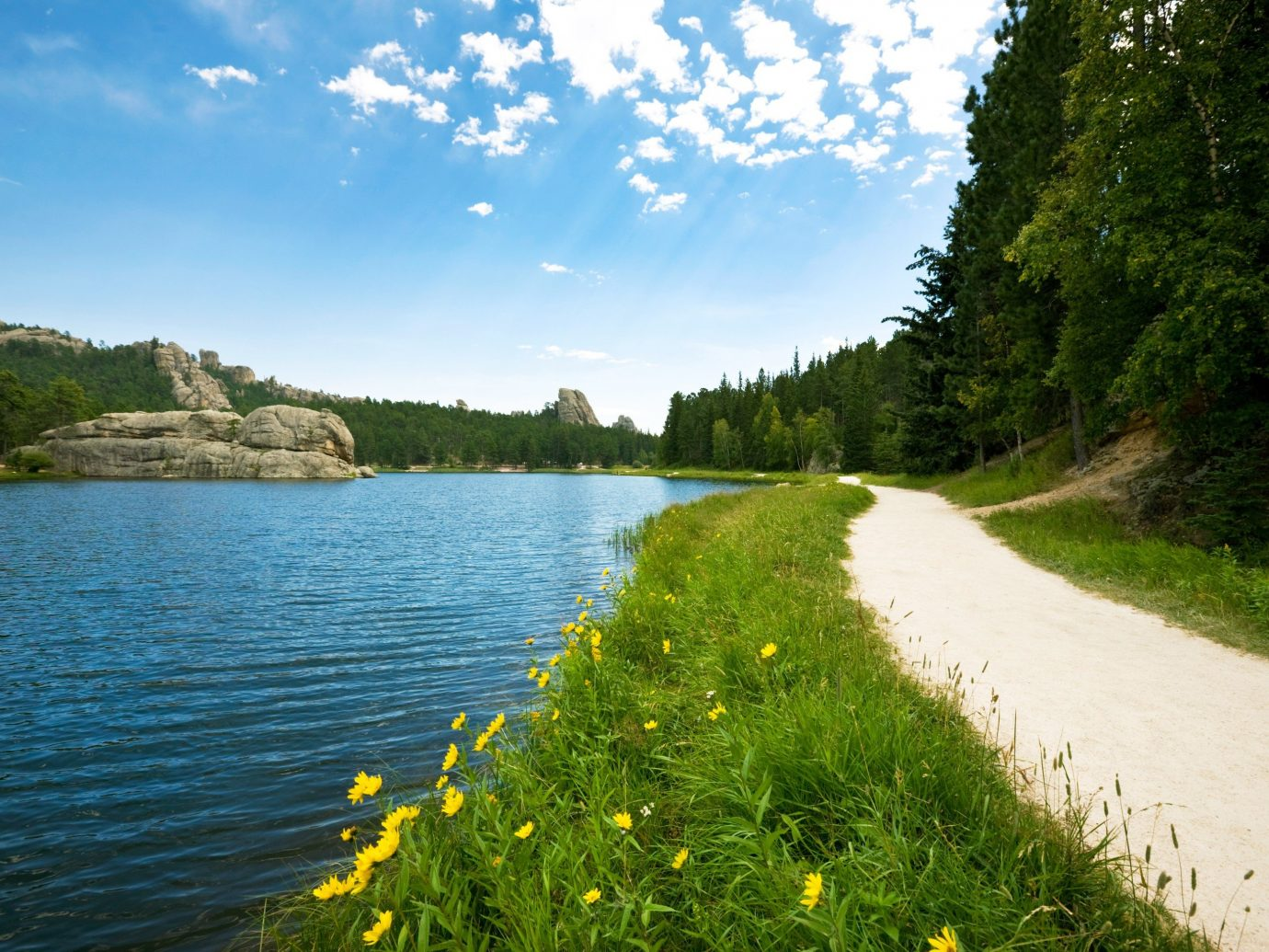 Trip Ideas outdoor water sky tree grass Nature body of water landform geographical feature River Lake reservoir loch rural area meadow landscape waterway mountain flower surrounded hillside
