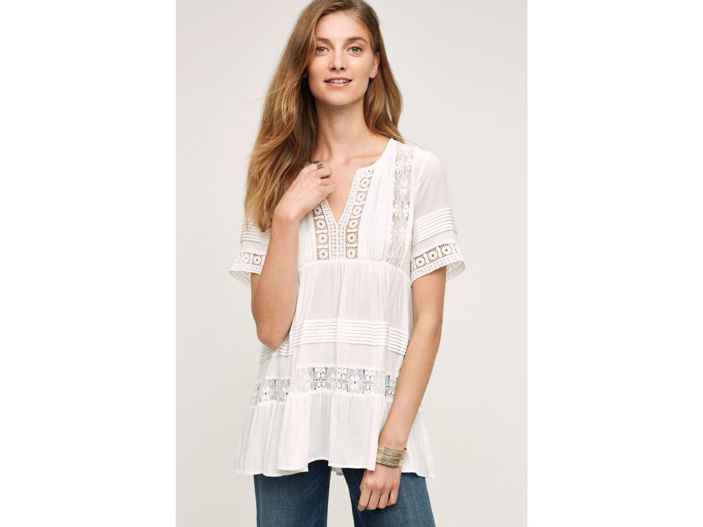 Style + Design clothing white person sleeve posing t shirt standing blouse outerwear neck shirt pocket photo shoot collar textile abdomen trouser
