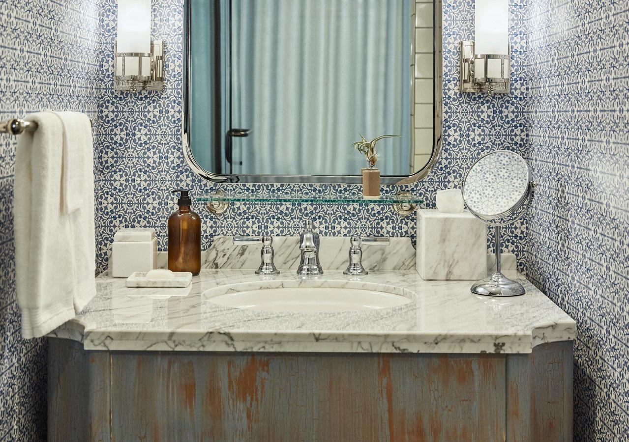 Style + Design bathroom indoor room property toilet home floor estate interior design sink tile flooring plumbing fixture countertop Design cottage material stone Bath tub