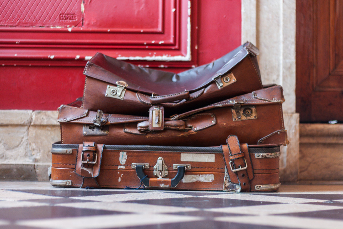 decor detail Hotels luggage Rustic red wood footwear suitcase Classic baggage