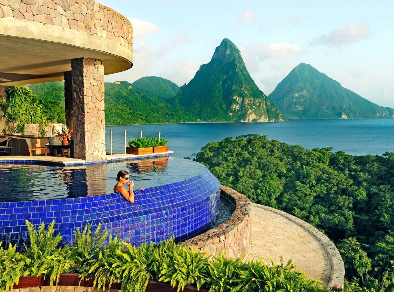Hotels mountain water sky outdoor Boat Lake River vacation tourism estate Coast Sea bay Resort background Nature swimming pool floating overlooking surrounded