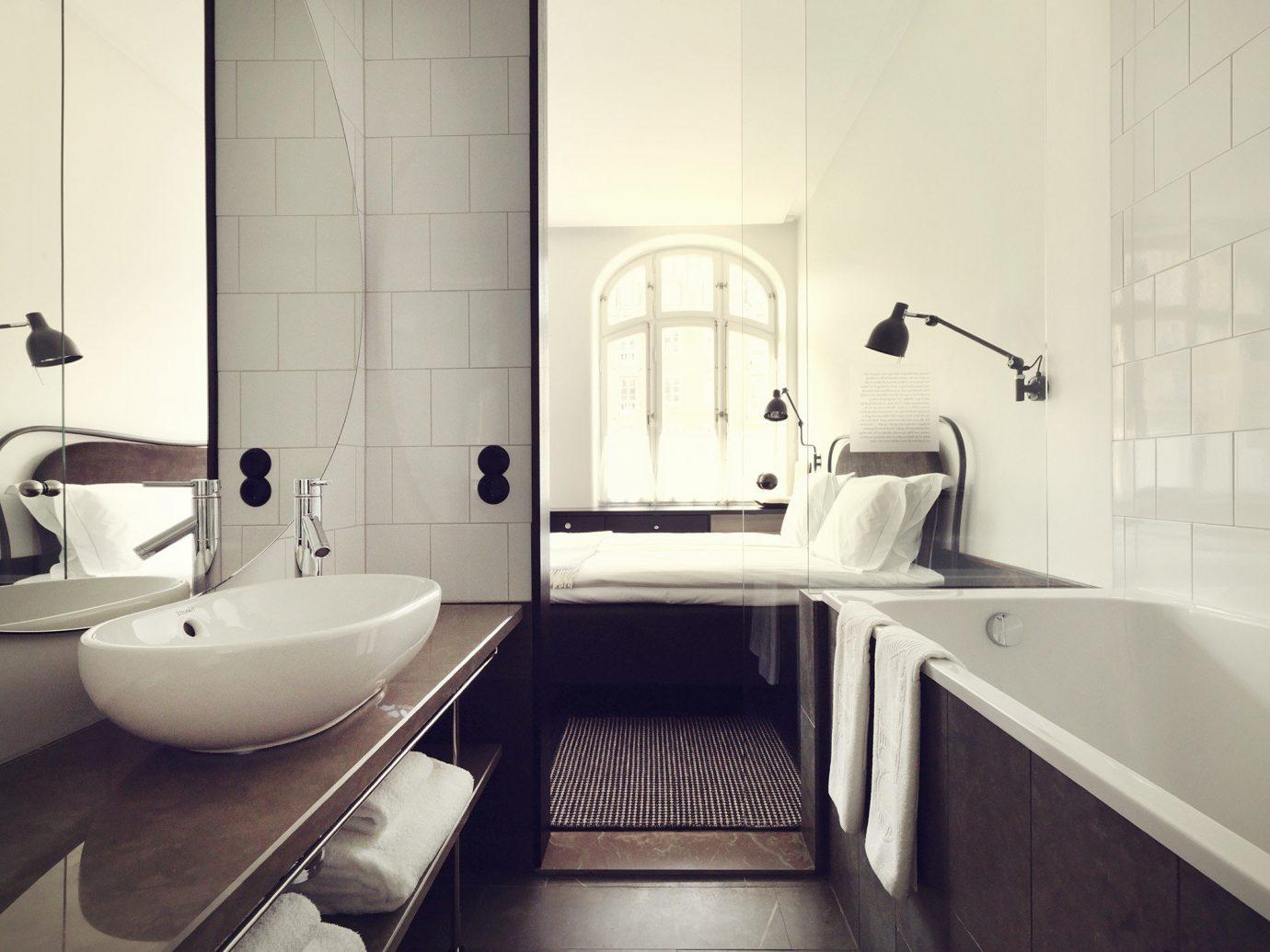 Hotels Stockholm Sweden wall bathroom indoor room property interior design Architecture sink white tap home floor plumbing fixture product design window flooring tile