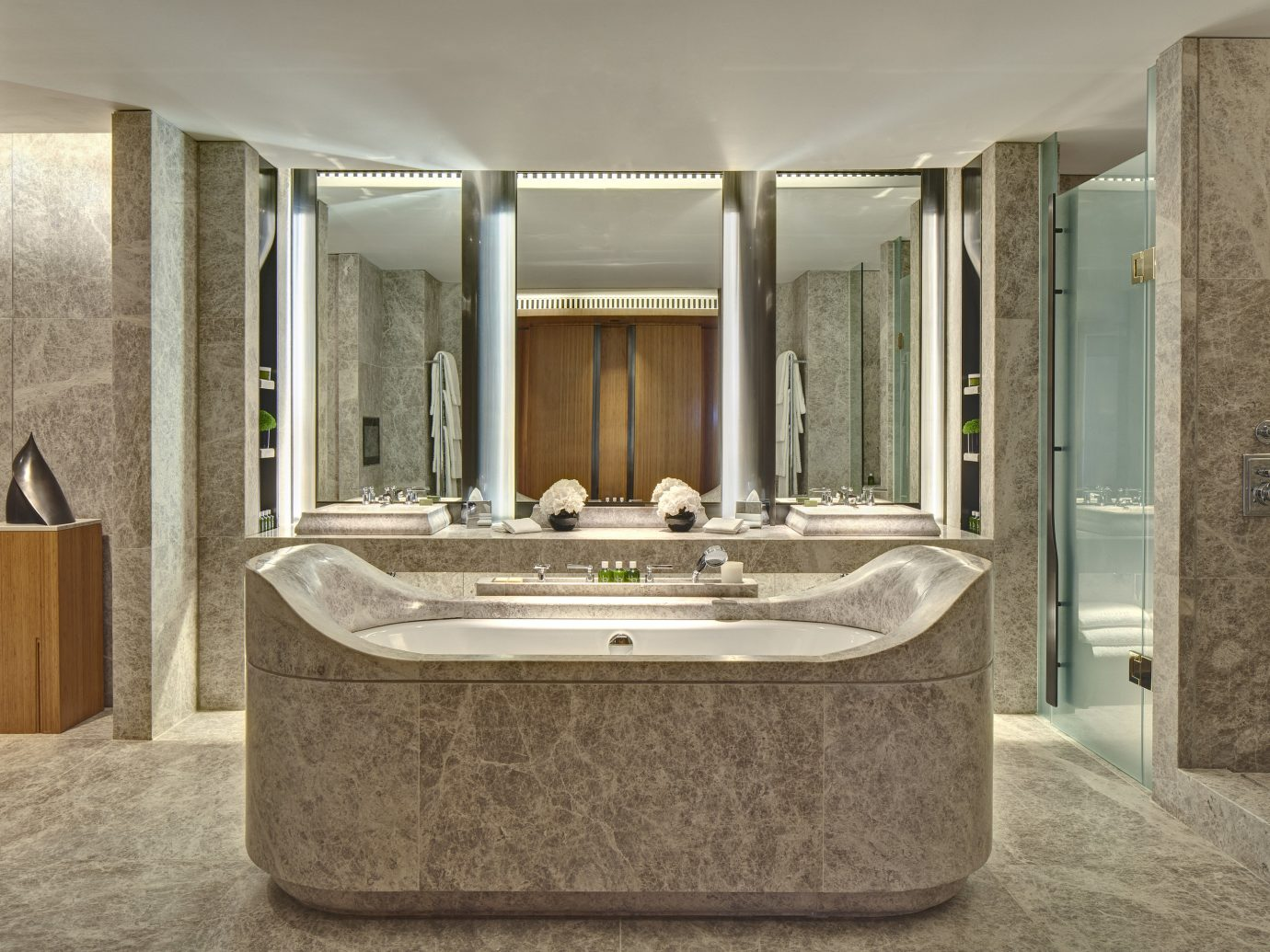 Hotels Luxury Travel bathroom indoor wall floor interior design estate tub bathtub real estate sink angle flooring stone interior designer Bath tan tiled