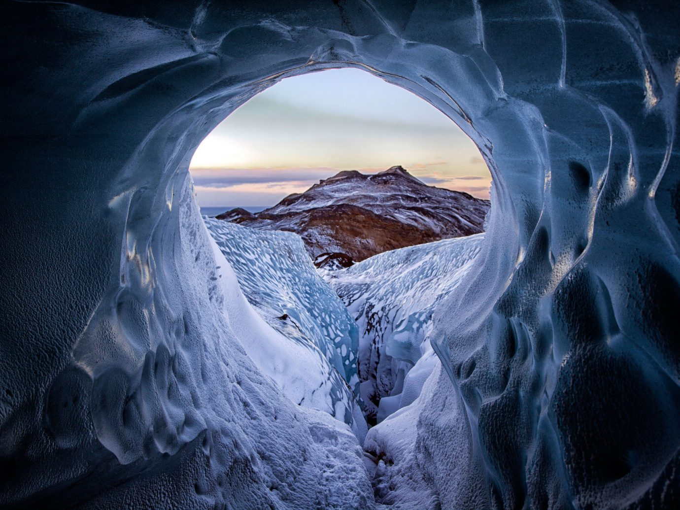 cave ice ice cave isolation majestic Mountains remote Scenic views snow Trip Ideas view Winter Nature blue darkness Waterfall screenshot reflection sunlight computer wallpaper melting