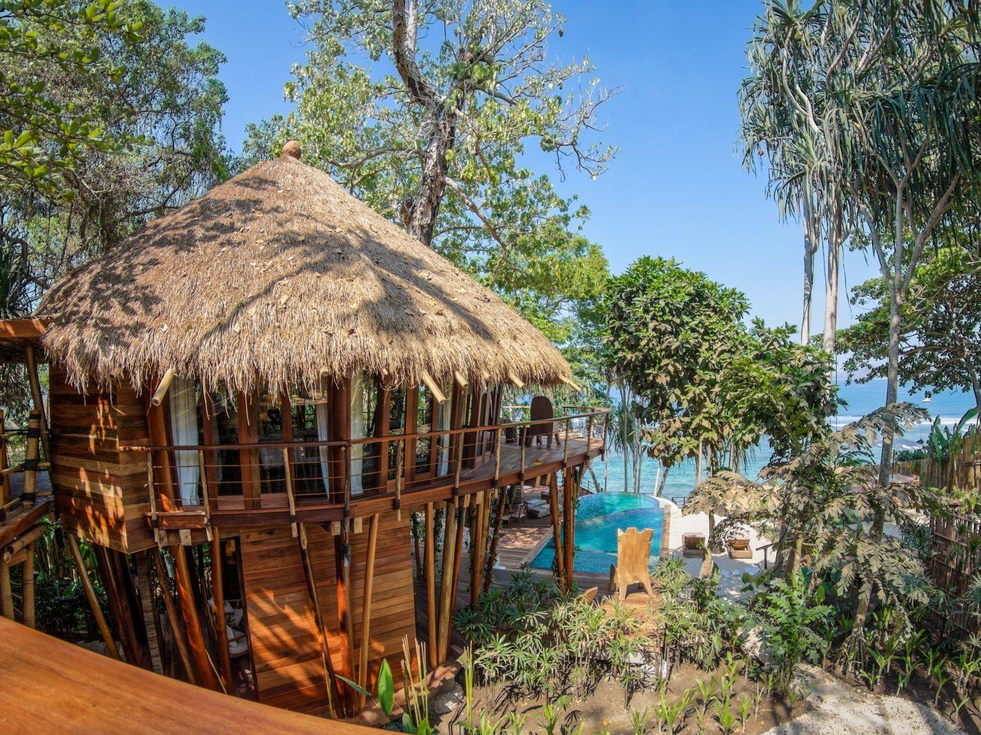 Beach Islands Luxury Travel Trip Ideas tree outdoor umbrella chair Resort hut lawn estate Jungle cottage Village area Garden several surrounded