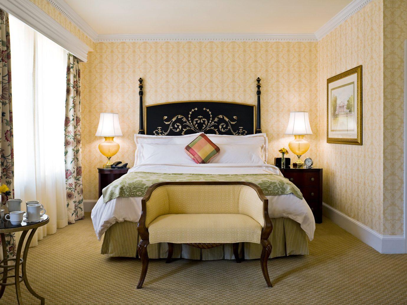 Bedroom Elegant Hotels Luxury Suite indoor floor wall room bed property ceiling estate hotel interior design cottage home real estate living room furniture