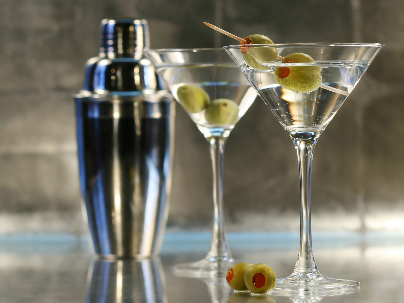 Food + Drink wine glasses Drink alcoholic beverage cocktail martini empty distilled beverage glass half champagne stemware
