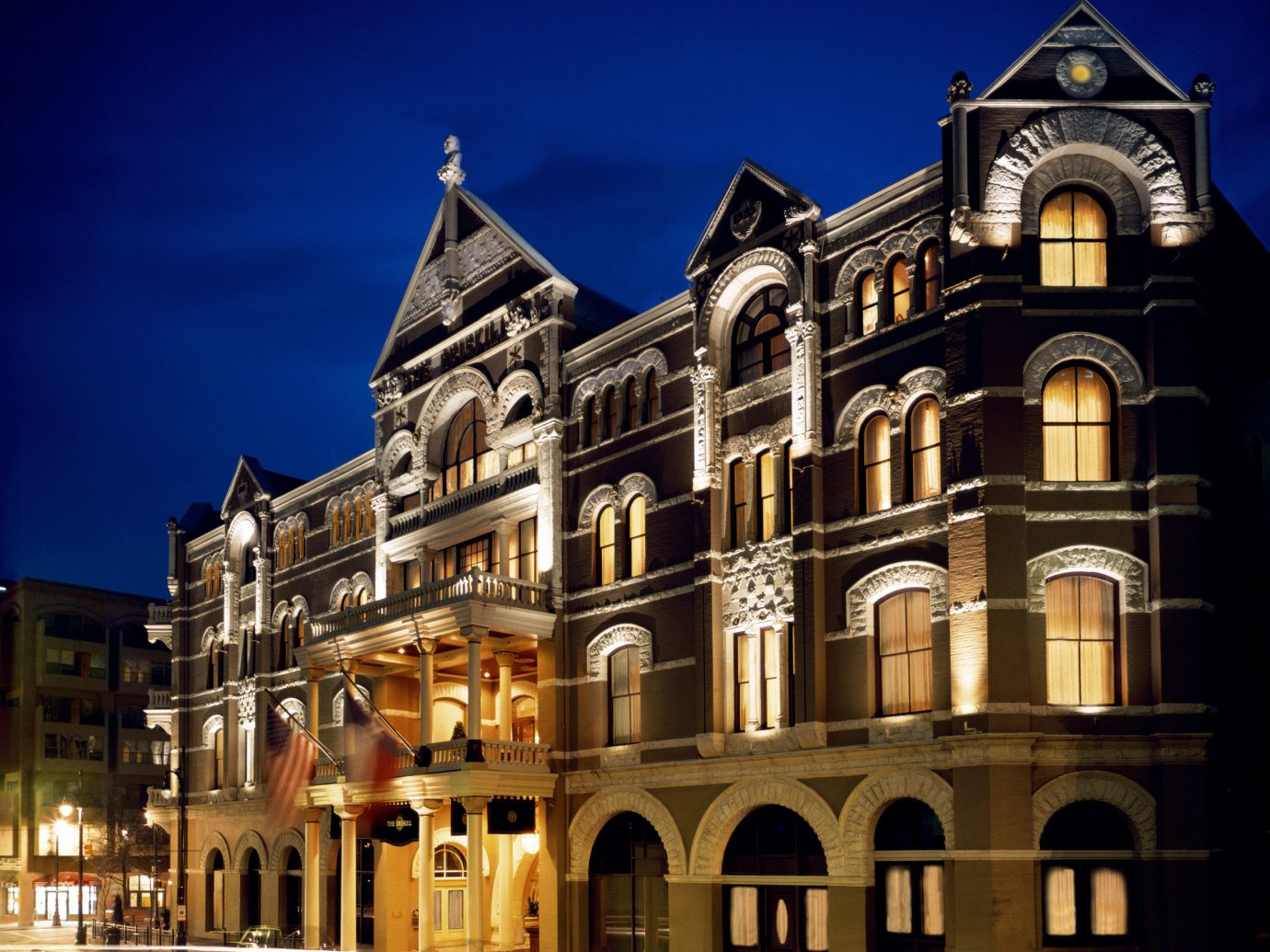 Hotels building outdoor landmark Town night house Architecture facade evening estate palace cityscape château old stone