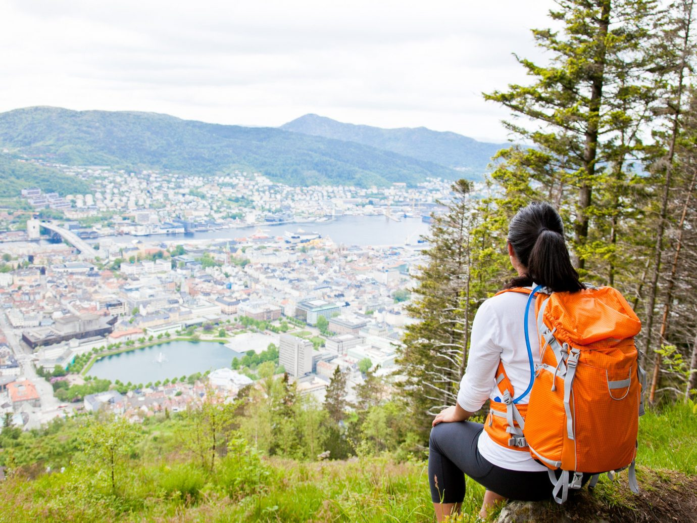 hike hiking Nature Outdoor Activities Outdoors overlook Scenic views tightrope trees Trip Ideas view viewpoint outdoor grass tree person mountain walking tourism orange Adventure backpacking highland