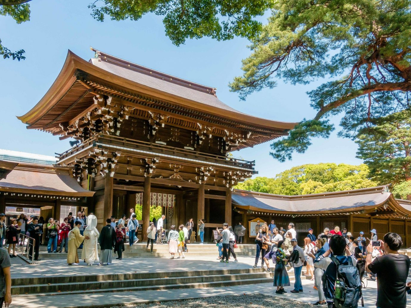 Trip Ideas tree outdoor sky chinese architecture people japanese architecture shinto shrine shrine person walking pagoda temple group leisure place of worship tourism historic site plant crowd square several colonnade