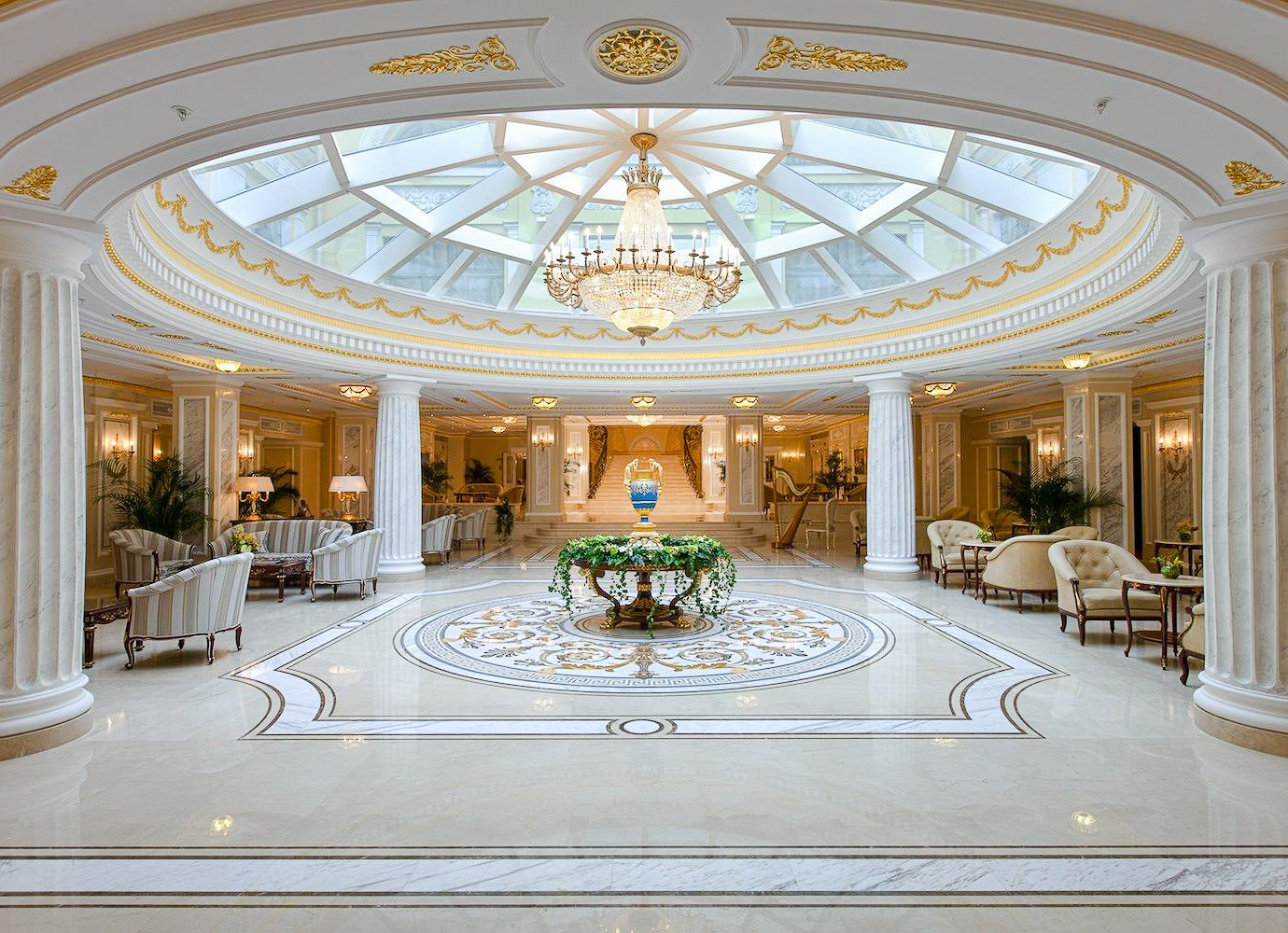 Arts + Culture Hotels Jetsetter Guides Luxury Travel ceiling function hall Lobby estate interior design daylighting column hall decorated