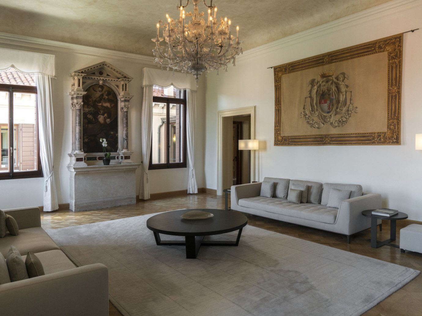 Hotels Italy Luxury Travel Venice indoor Living floor wall room sofa ceiling property living room dining room furniture estate home interior design mansion Design real estate Villa tourist attraction decorated area