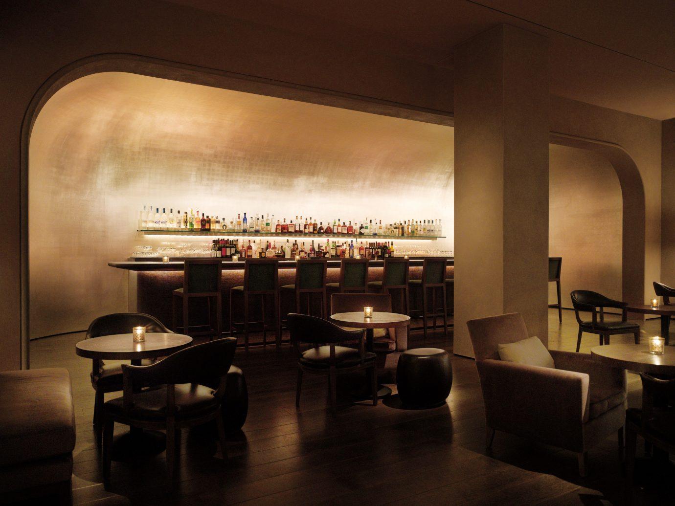 Food + Drink Hotels indoor wall floor table room ceiling Living restaurant interior design lighting furniture shape Bar area