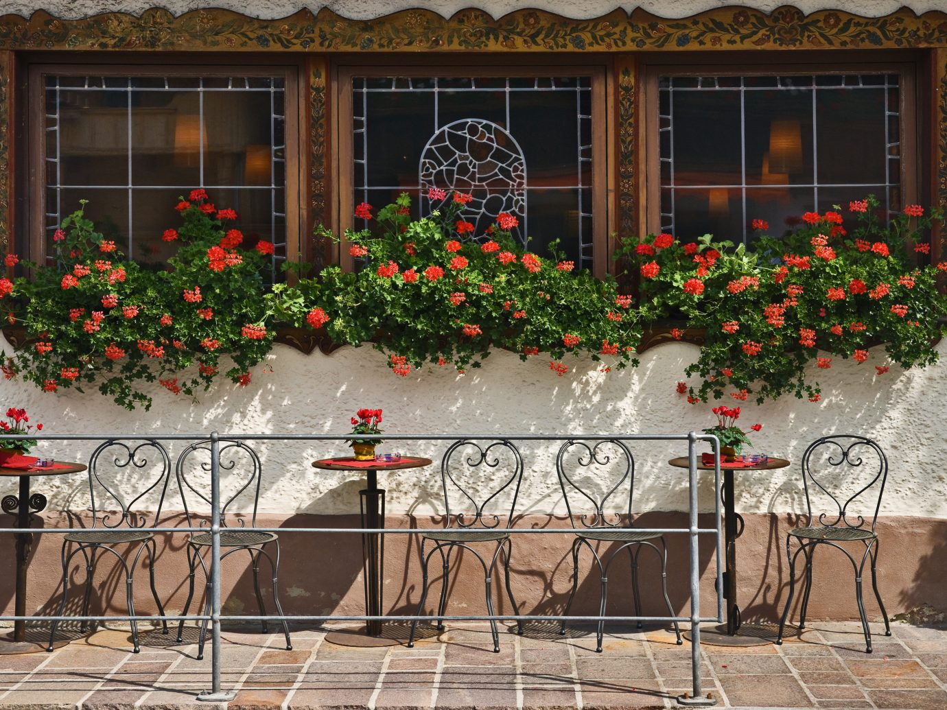Mountains + Skiing Trip Ideas outdoor flower window home plant floristry house facade tree table outdoor structure door Balcony porch decorated surrounded