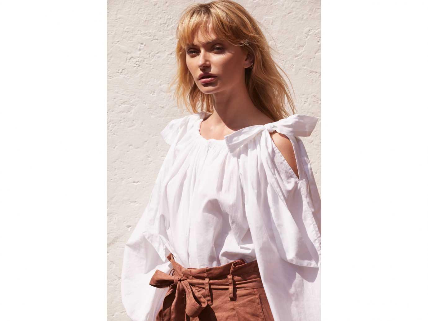 Style + Design person clothing dress outdoor fashion model shoulder joint blouse girl neck wearing sleeve top supermodel long hair dressed model lady posing