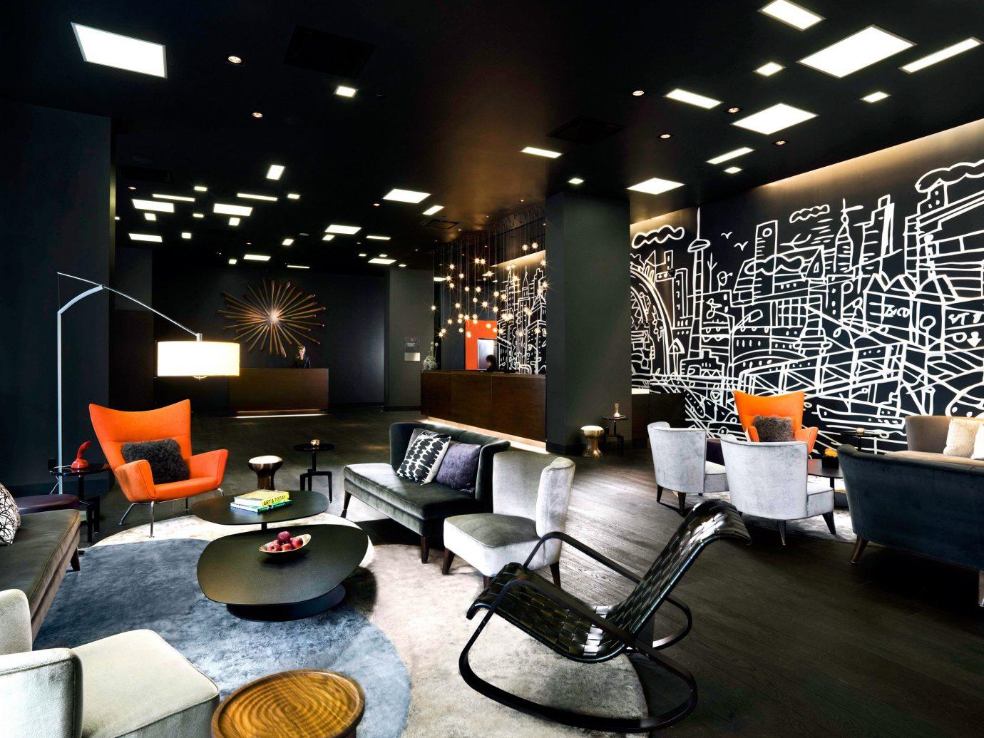 Hotels indoor room floor ceiling Lobby Living living room interior design Design lighting furniture area several
