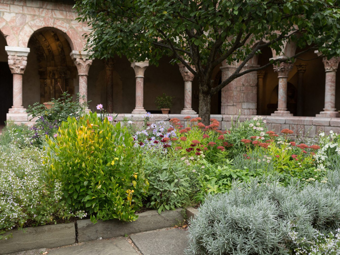 arch Architecture art Arts + Culture attraction Budget building calm Courtyard culture Exterior Garden Greenery Historic Museums serene trees outdoor flower botany yard estate backyard stone shrub lawn plant court bushes colonnade