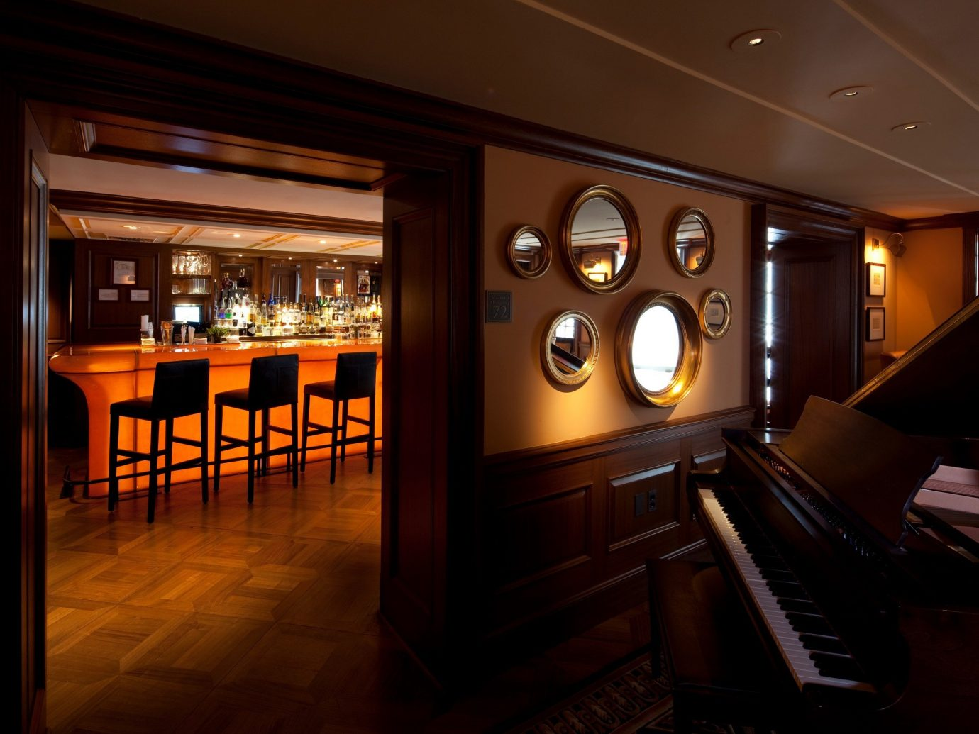 Food + Drink indoor floor ceiling recreation room Lobby estate interior design lighting Bar night basement