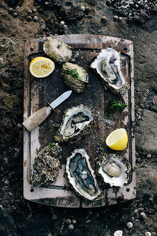 Eat food Food + Drink fresh Hotels Luxury Travel oysters Rustic Seafood ground outdoor painting still life meal dirty