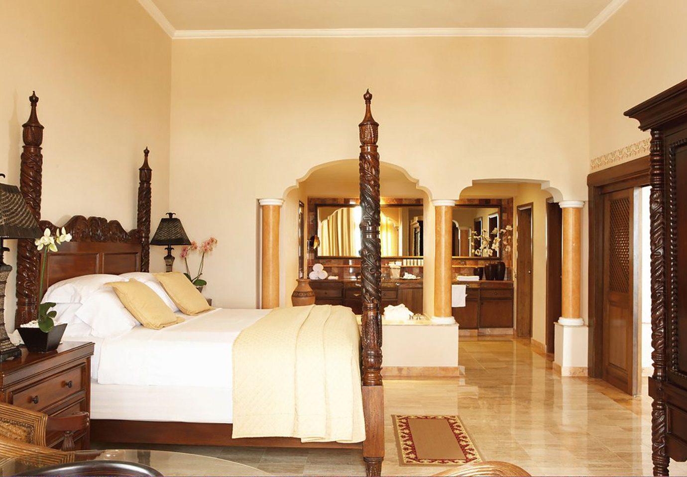 Hotels indoor wall floor room Living property furniture estate Suite ceiling interior design real estate Bedroom bed hacienda bed frame