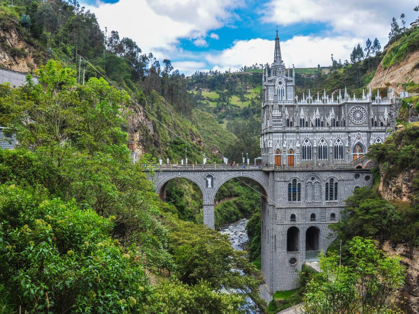 Offbeat tree outdoor bridge sky building River historic site landmark Town tourism vacation traveling monastery tours château viaduct unesco world heritage site old stone bushes Forest surrounded