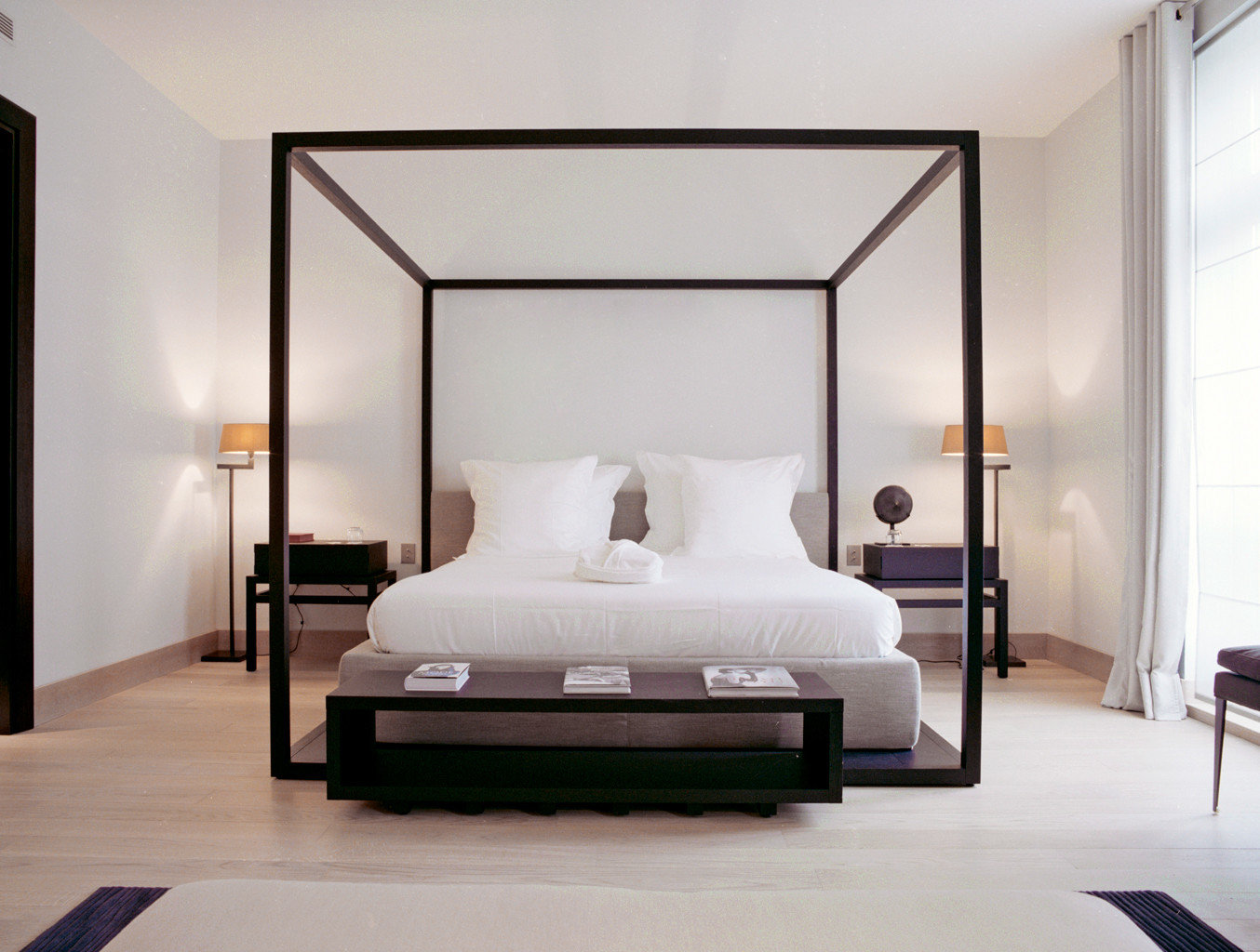 Bedroom Boutique City Elegant France Hotels Luxury Paris Suite wall indoor floor bed room furniture bed frame interior design living room hotel Design wardrobe lamp