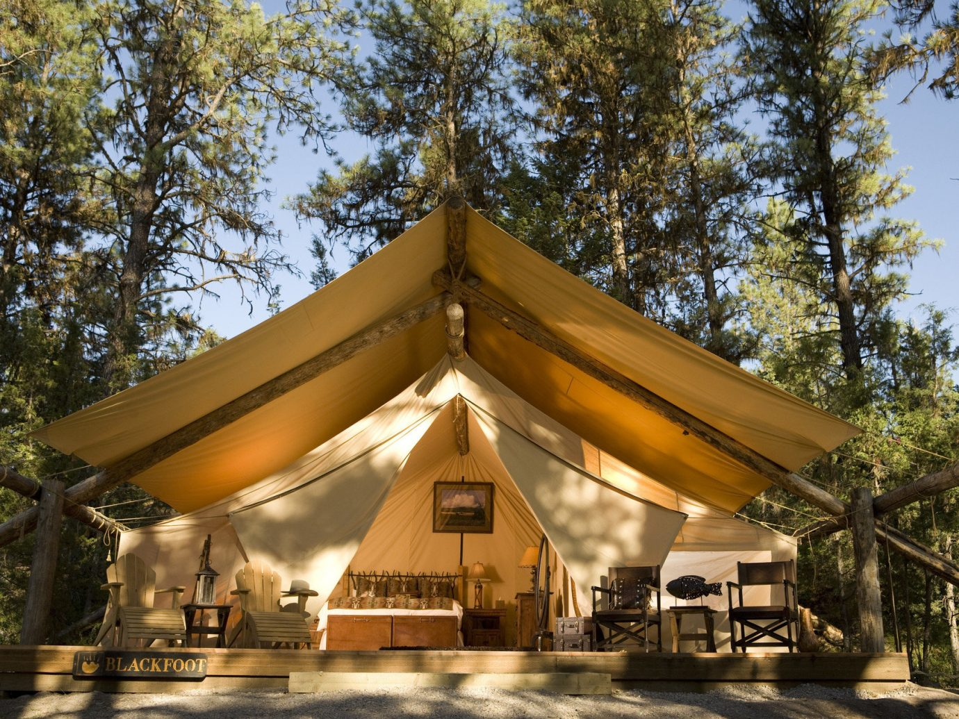 Exterior Glamping Luxury Nature Outdoors Outdoors + Adventure remote Rustic tent tents Weekend Getaways wilderness tree outdoor shinto shrine temple shrine pavilion place of worship outdoor object