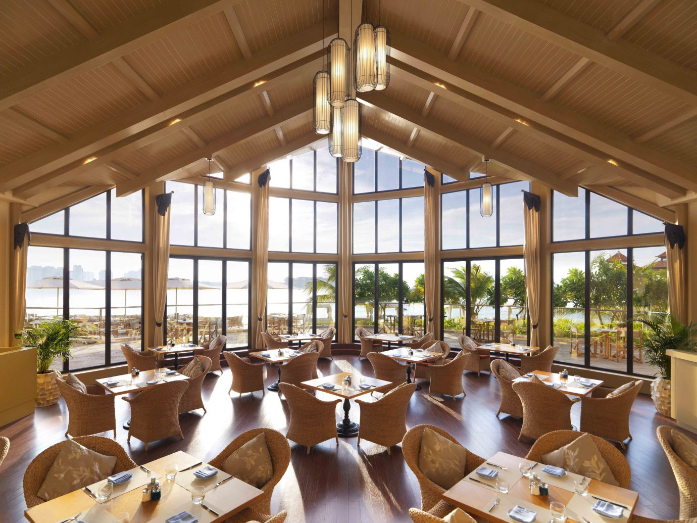 Dubai Hotels Luxury Travel Middle East indoor window ceiling restaurant interior design function hall daylighting table roof furniture several dining room