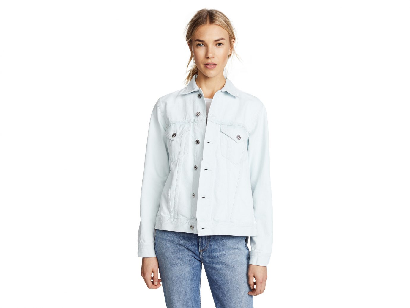 Packing Tips Spring Travel Style + Design Travel Shop person standing sleeve posing jacket shirt button denim blouse jeans