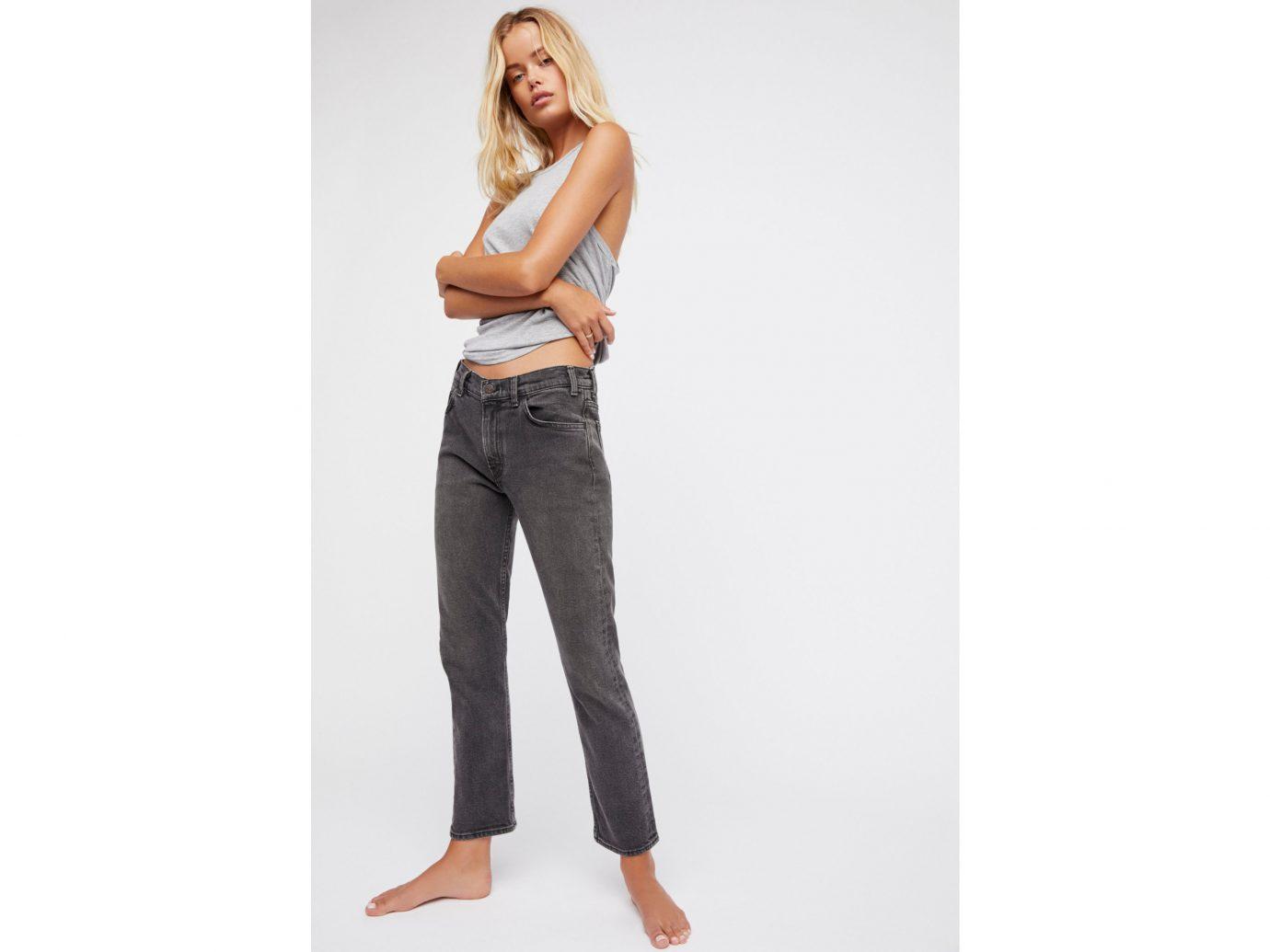 Style + Design clothing jeans person trouser shoulder denim standing waist fashion model posing trousers joint abdomen neck
