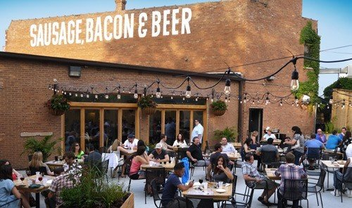Food + Drink building outdoor person restaurant people meal several