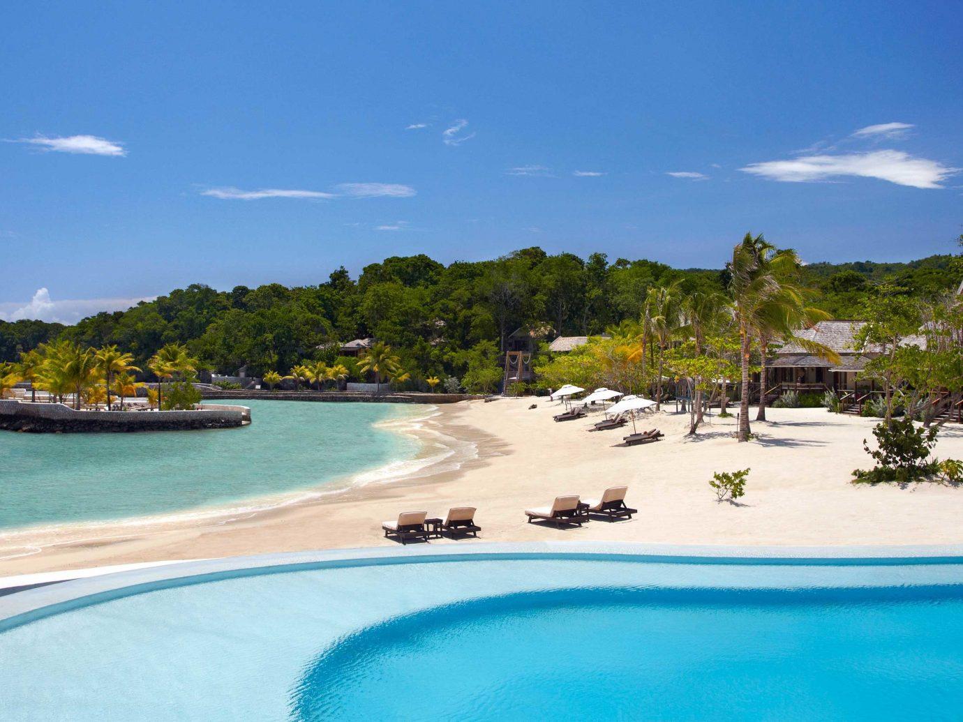 Beach and pool at GoldenEye, Jamaica