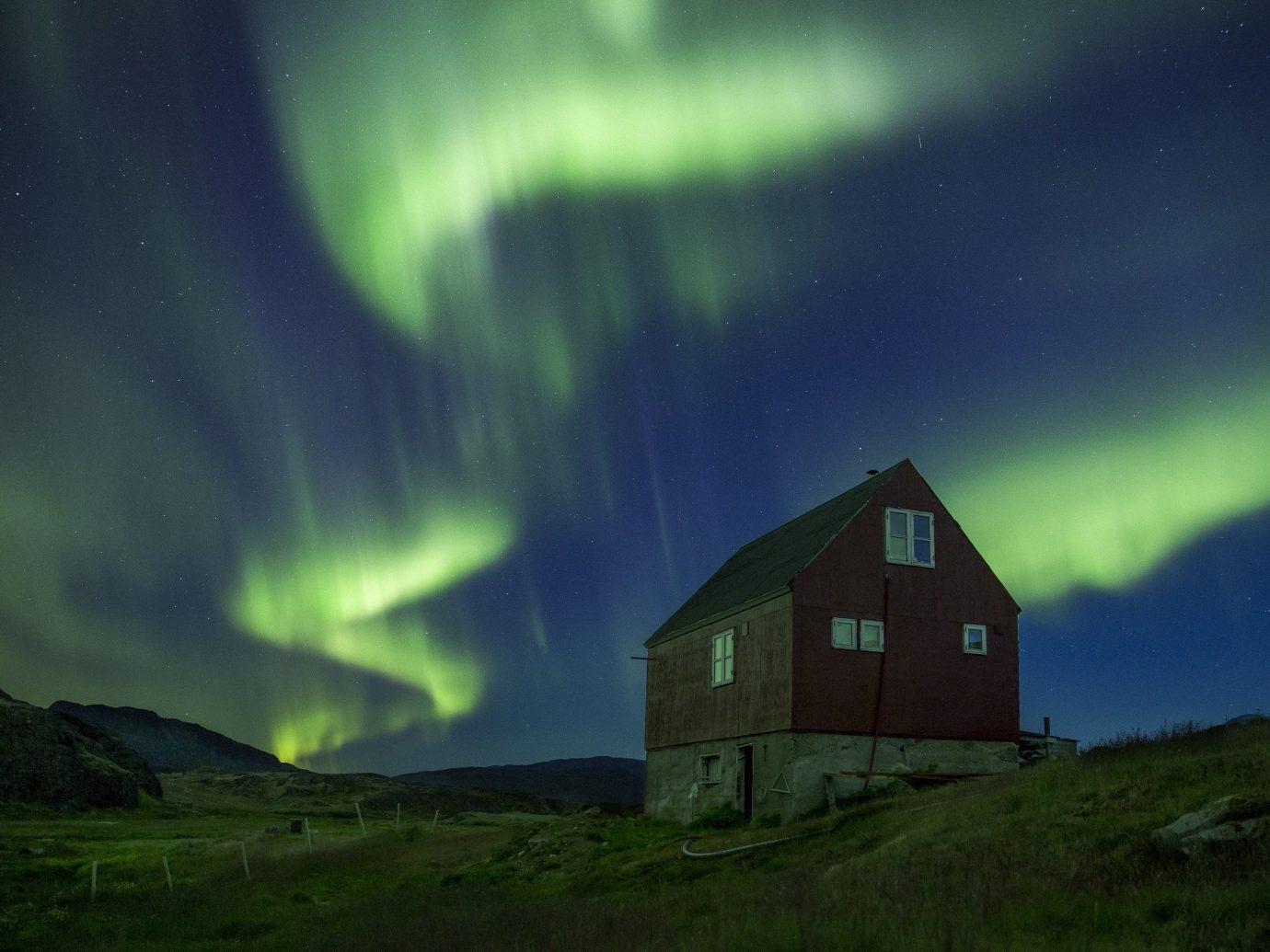 Trip Ideas grass outdoor aurora light atmosphere night house