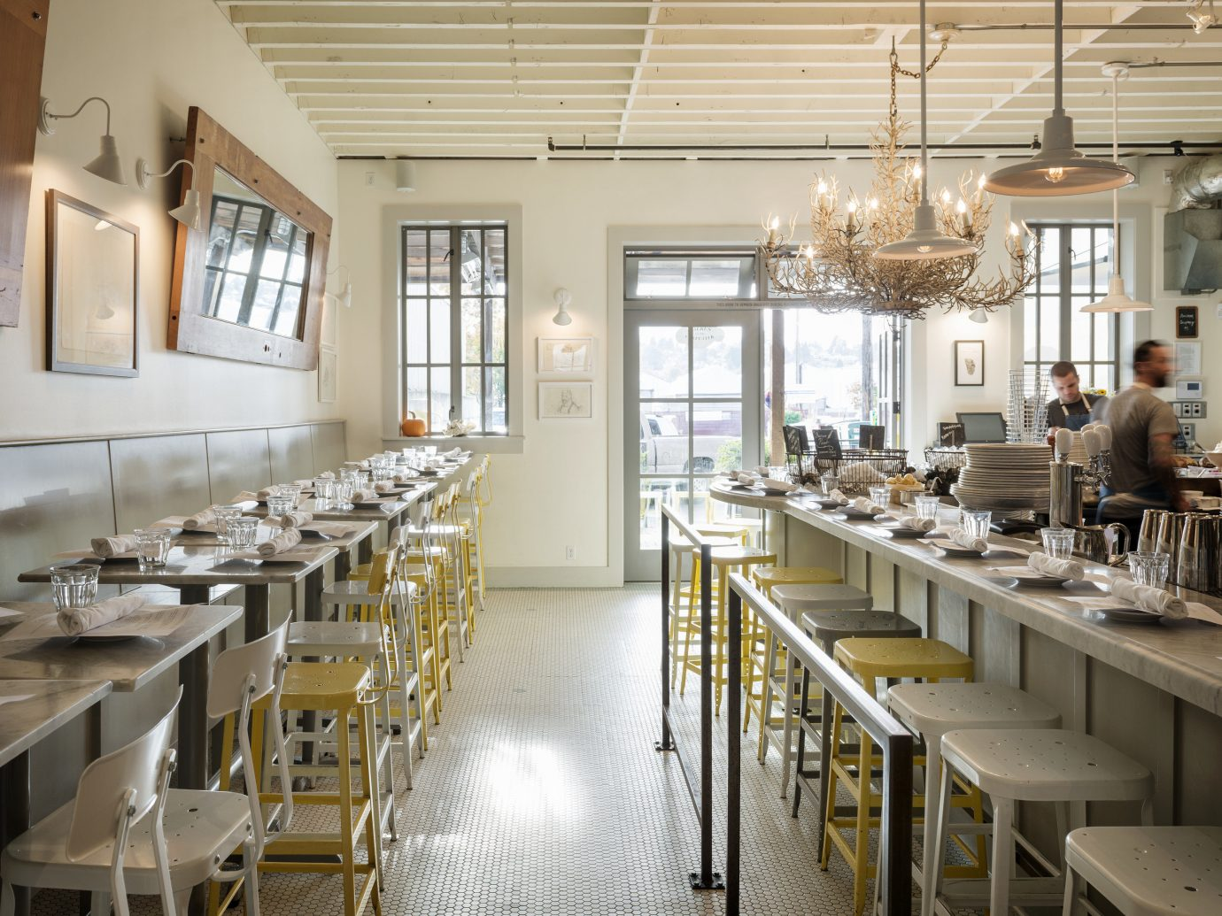 Food + Drink indoor table window Kitchen interior design restaurant Dining dining room counter lots area