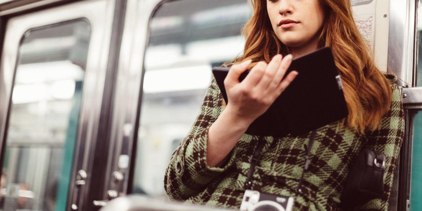 Arts + Culture person bus car window shoulder girl long hair subway brown hair pattern