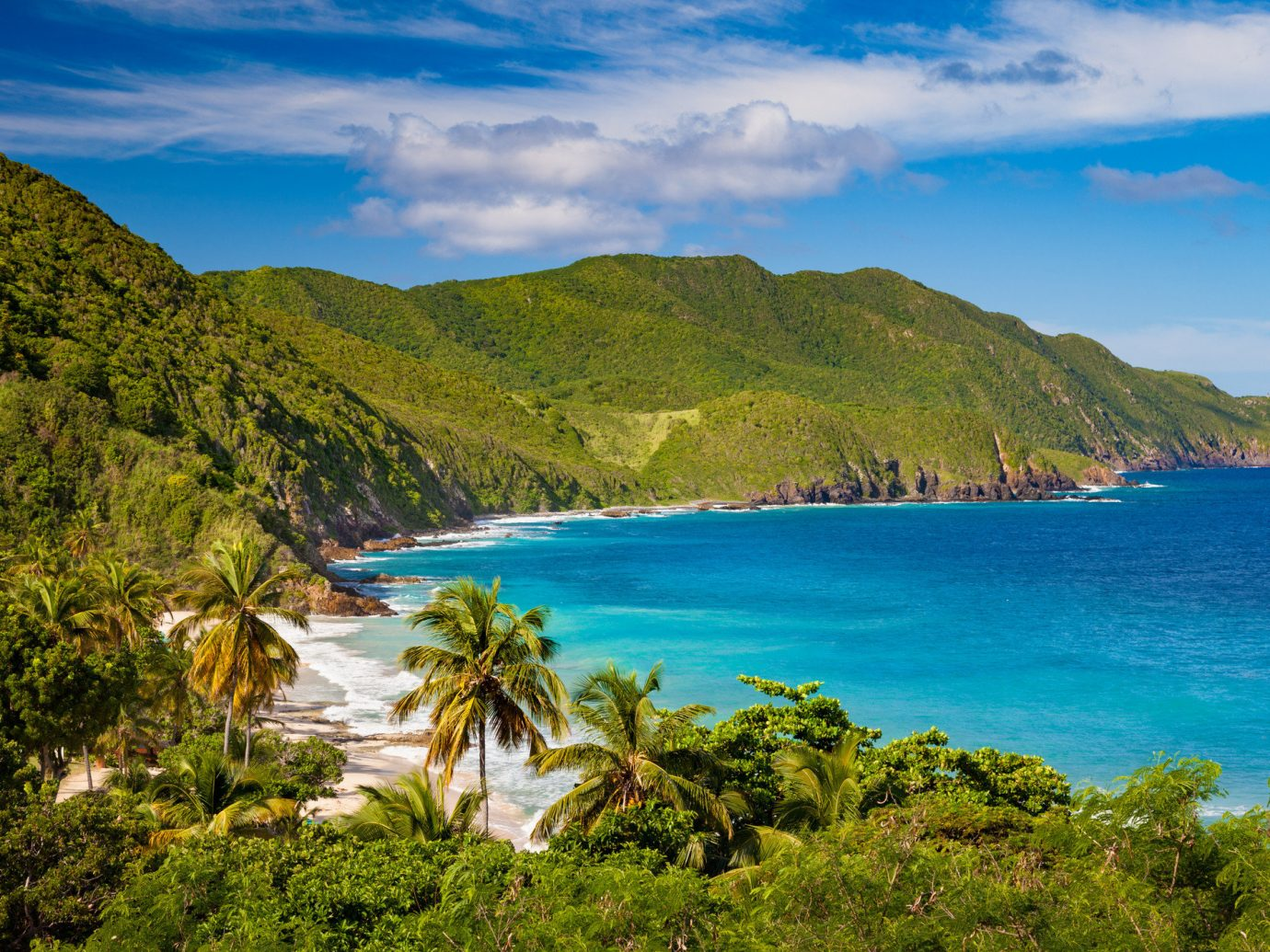 Trip Ideas outdoor mountain sky water Nature geographical feature landform body of water Coast Sea shore tree Ocean vacation cloud bay hill Beach landscape Lake loch tropics cove cliff caribbean cape Island terrain islet Lagoon overlooking hillside beautiful surrounded highland