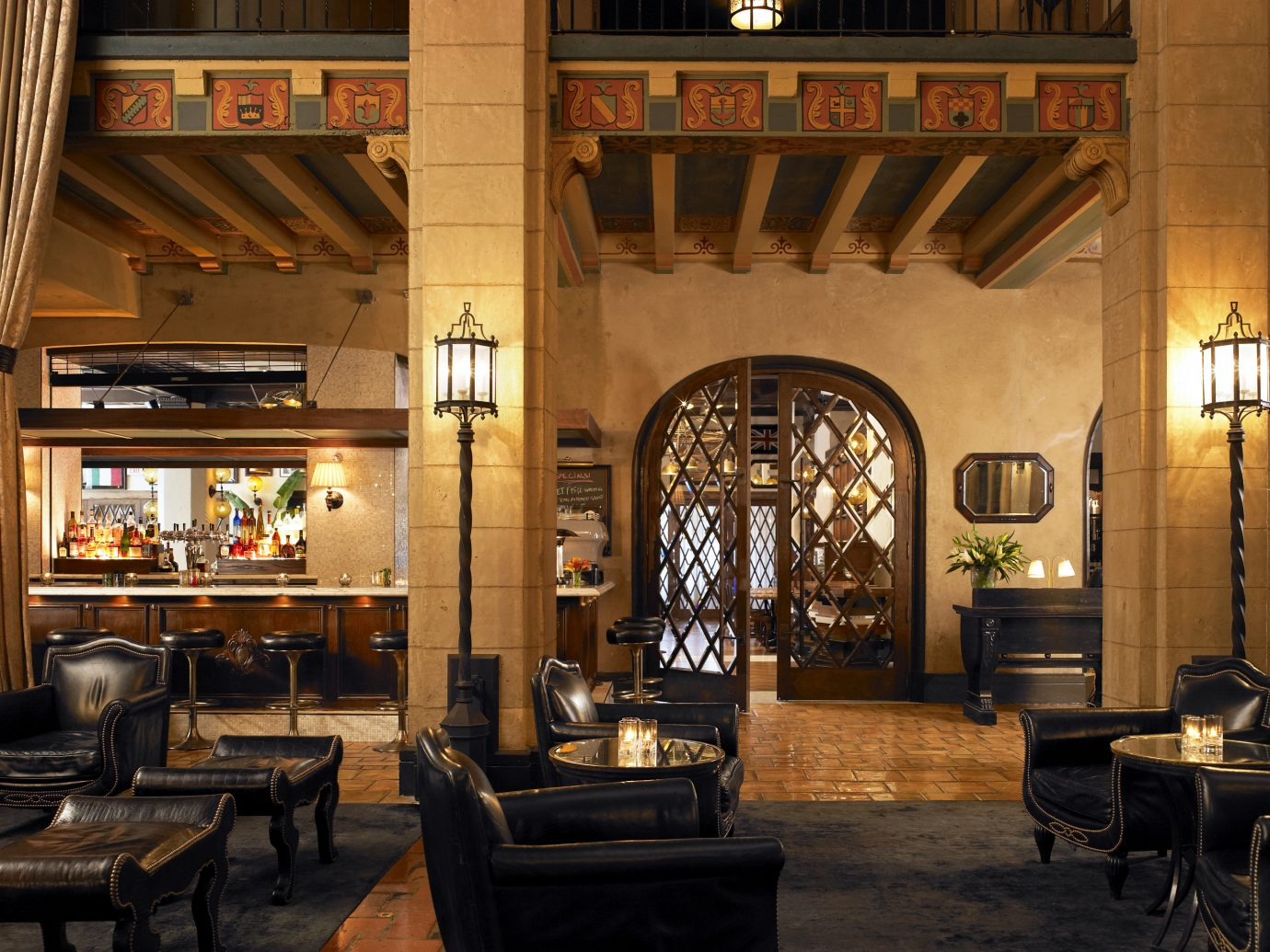 Architecture Bar Dining Drink Eat Historic Hotels Lobby Lounge Luxury Romance indoor Living floor room chair estate interior design restaurant lighting furniture area