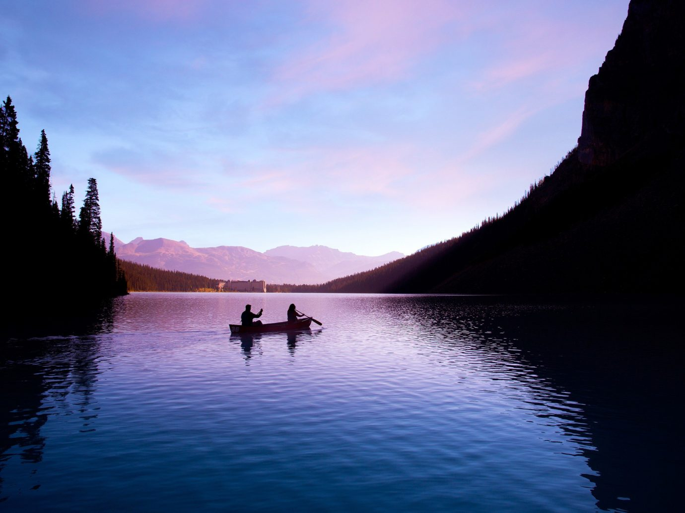 People canoeing at Banff National Park