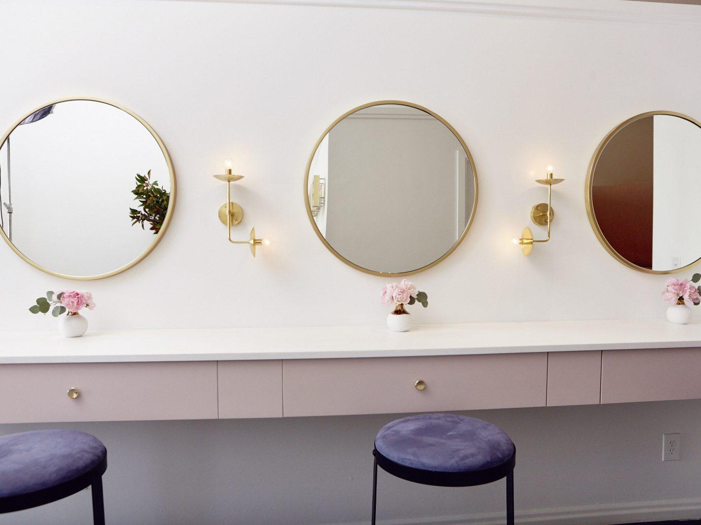 Offbeat wall indoor color room circle interior design shape glasses Design